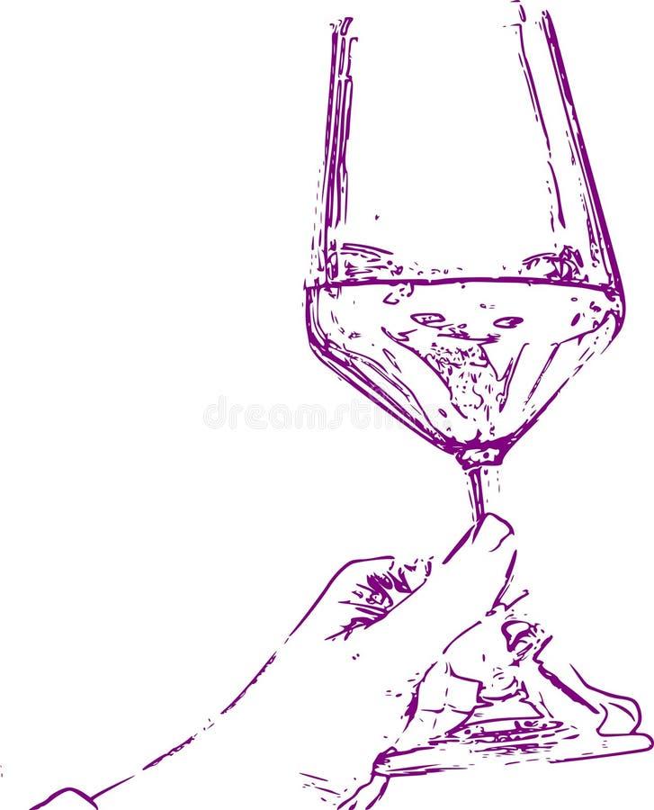 Vettore di vetro di vino con la tenuta della mano immagine stock libera da diritti