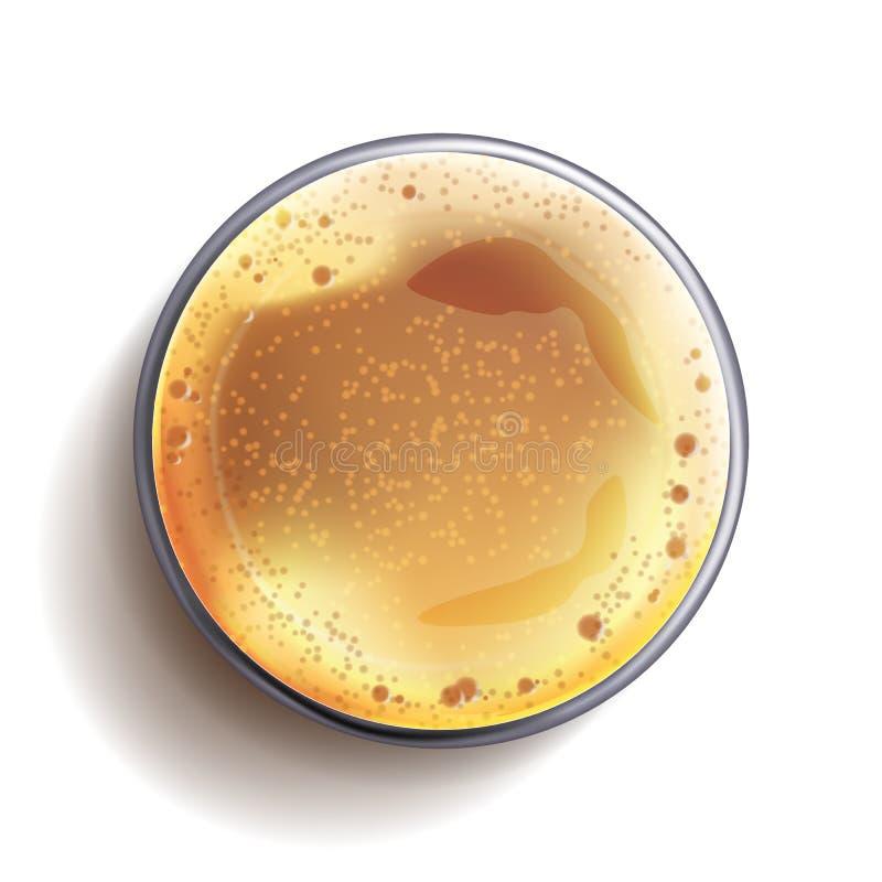 Vettore di vista superiore di vetro di birra scura Tazza di vetro Bevanda dell'alcool con le bolle della schiuma Per progettazion illustrazione vettoriale