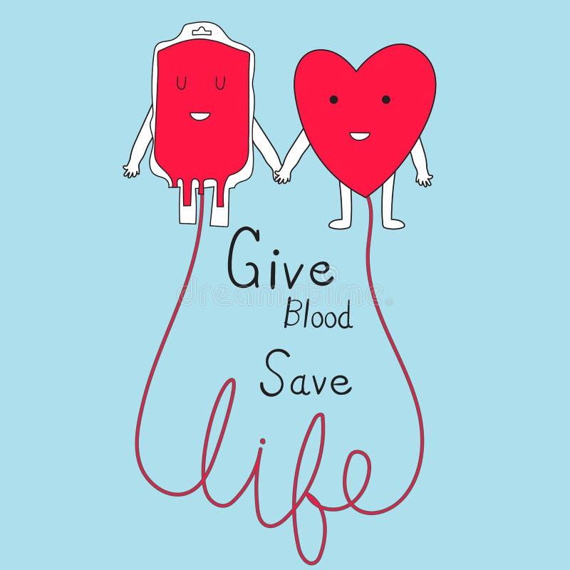Vettore di vita sicura del sangue di elasticità di concetto di donazione di sangue Illustrazione illustrazione di stock