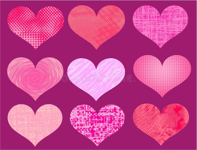 Vettore differente dei cuori del biglietto di S. Valentino illustrazione vettoriale
