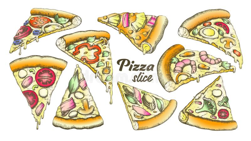 Vettore differente dell'inchiostro dell'insieme della pizza della fetta dell'assortimento di colore royalty illustrazione gratis