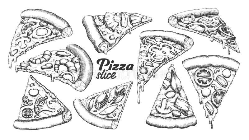 Vettore differente dell'inchiostro dell'insieme della pizza della fetta dell'assortimento royalty illustrazione gratis