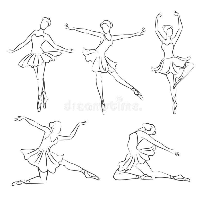Vettore disegnato a mano della bella ballerina illustrazione vettoriale