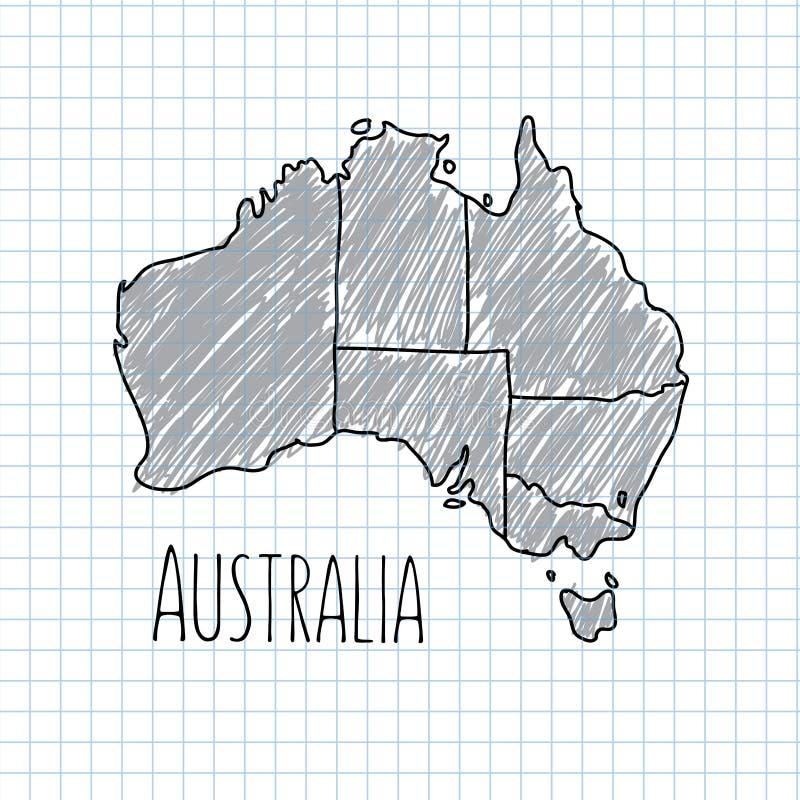 Vettore disegnato a mano della mappa dell'Australia della penna su carta royalty illustrazione gratis