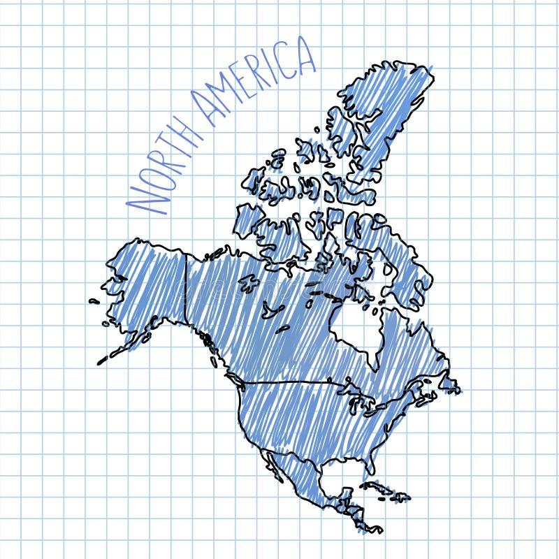 Vettore disegnato a mano della mappa di Nord America della penna blu sopra royalty illustrazione gratis