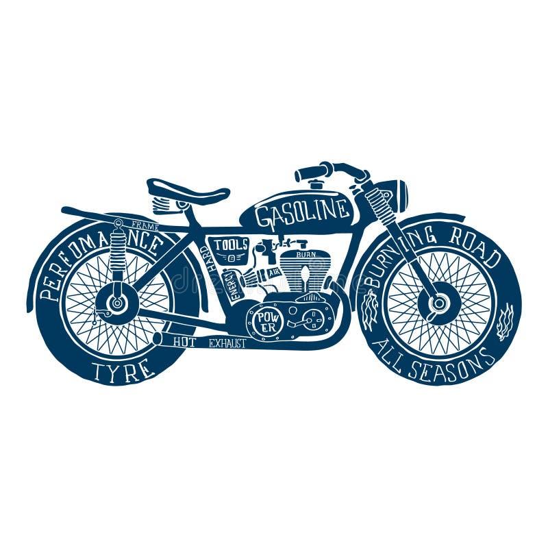 Vettore disegnato a mano della siluetta del motociclo d'annata illustrazione di stock