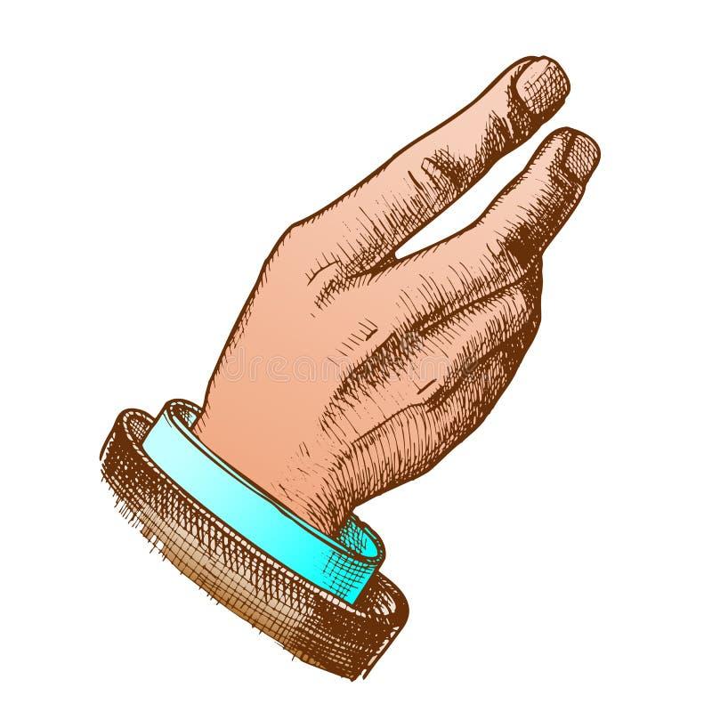 Vettore disegnato a mano di Hand Make Gesture dell'uomo d'affari di colore illustrazione vettoriale