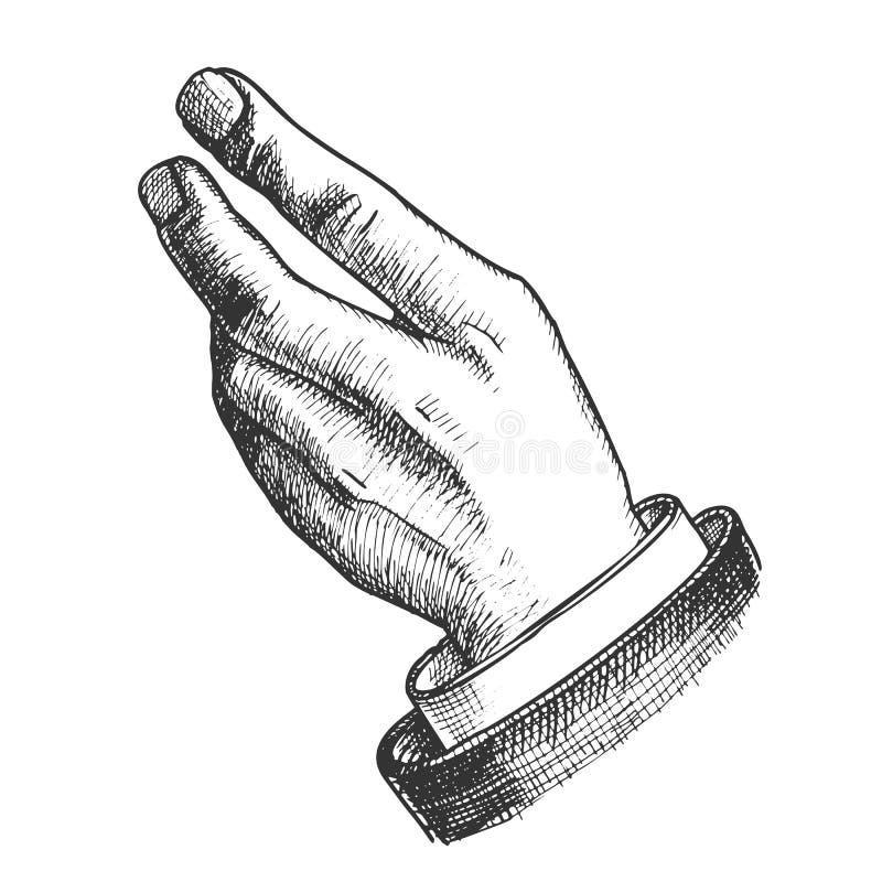 Vettore disegnato a mano di Hand Make Gesture dell'uomo d'affari illustrazione di stock