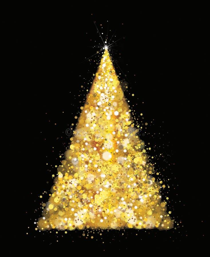 Vettore dorato, albero di Natale di scintillio illustrazione vettoriale