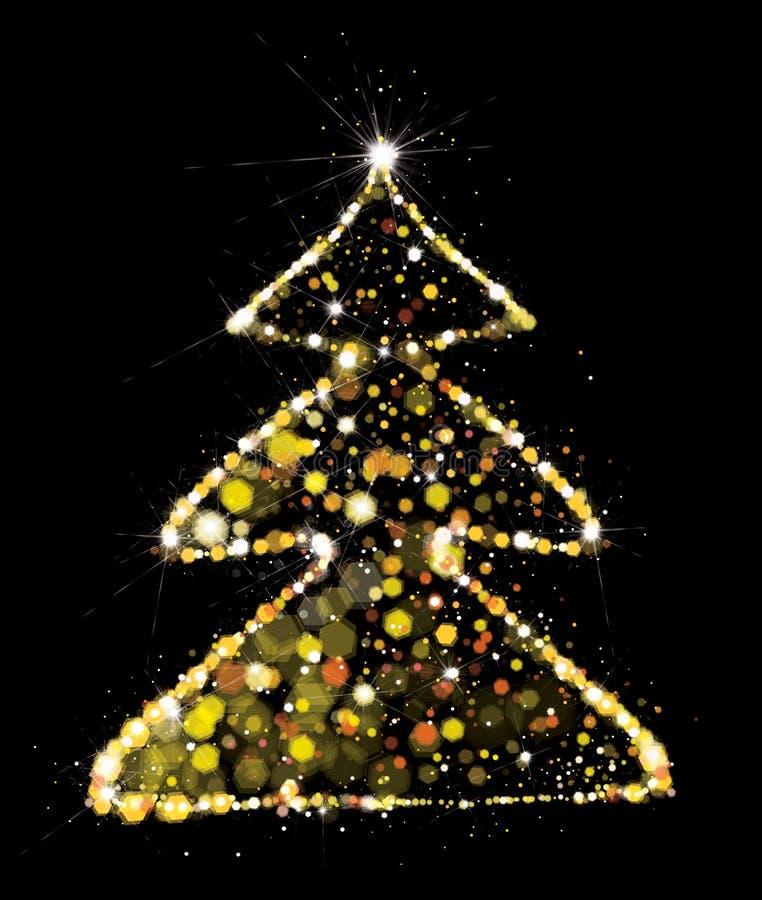 Vettore dorato, albero di Natale di scintillio royalty illustrazione gratis