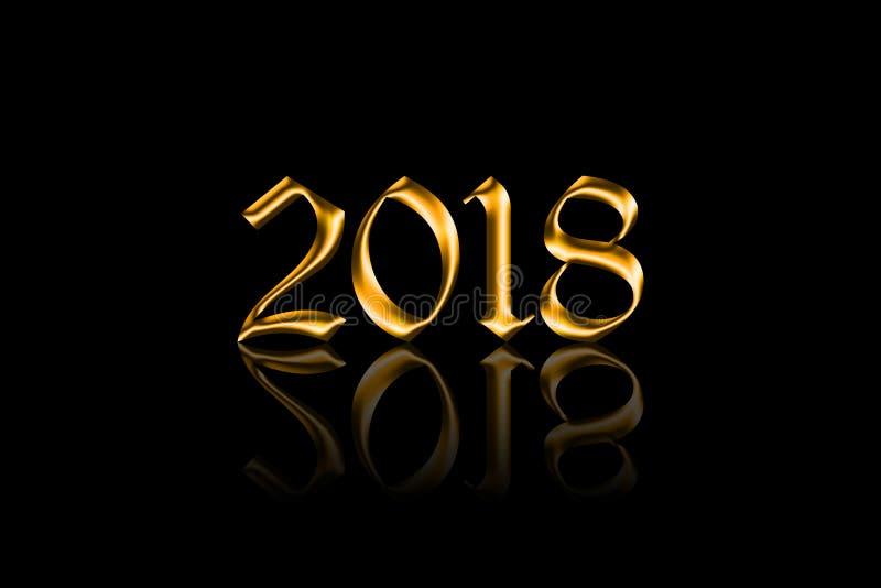 Vettore dorato 2018 con la riflessione su fondo nero fotografia stock