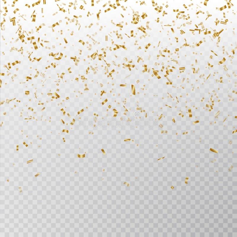 Vettore dorato dei coriandoli di scintillio Struttura di carta del lamé di Carnaval isolata su fondo Coriandoli del partito illustrazione di stock