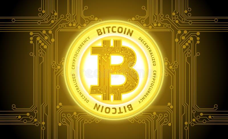 Vettore dorato del fondo dell'estratto di cryptocurrency del bitcoin royalty illustrazione gratis