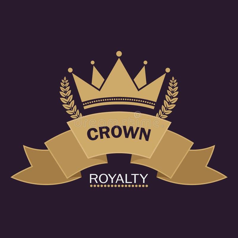 Vettore dorato della corona Linea progettazione di logo di arte Simbolo reale d'annata di potere e di ricchezza illustrazione di stock