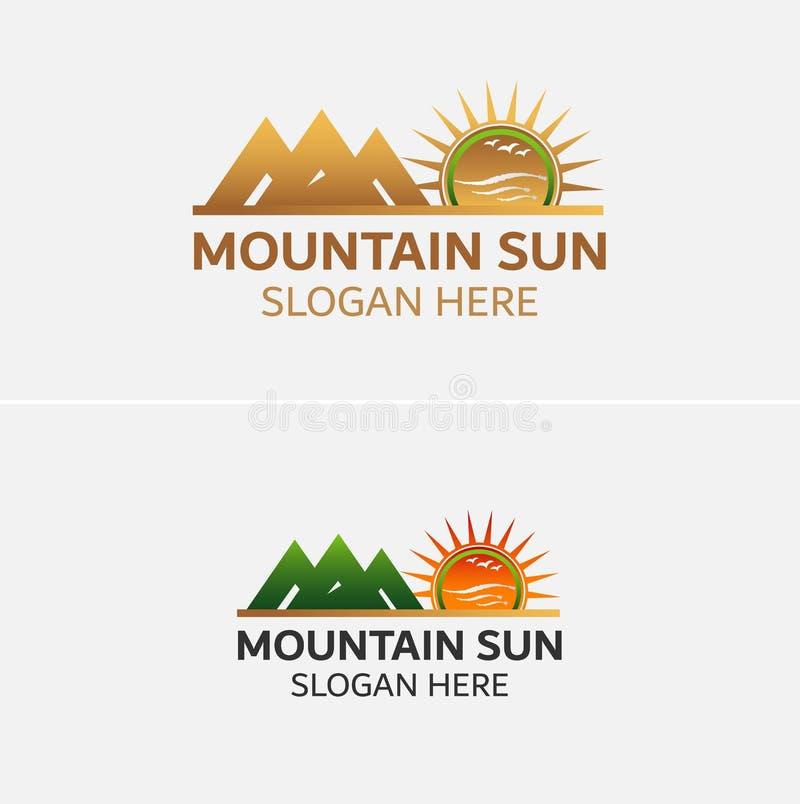 Vettore dorato di logo delle montagne con le icone del sole illustrazione vettoriale