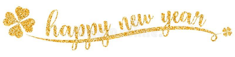 Vettore dorato di scintillio del buon anno isolato illustrazione vettoriale