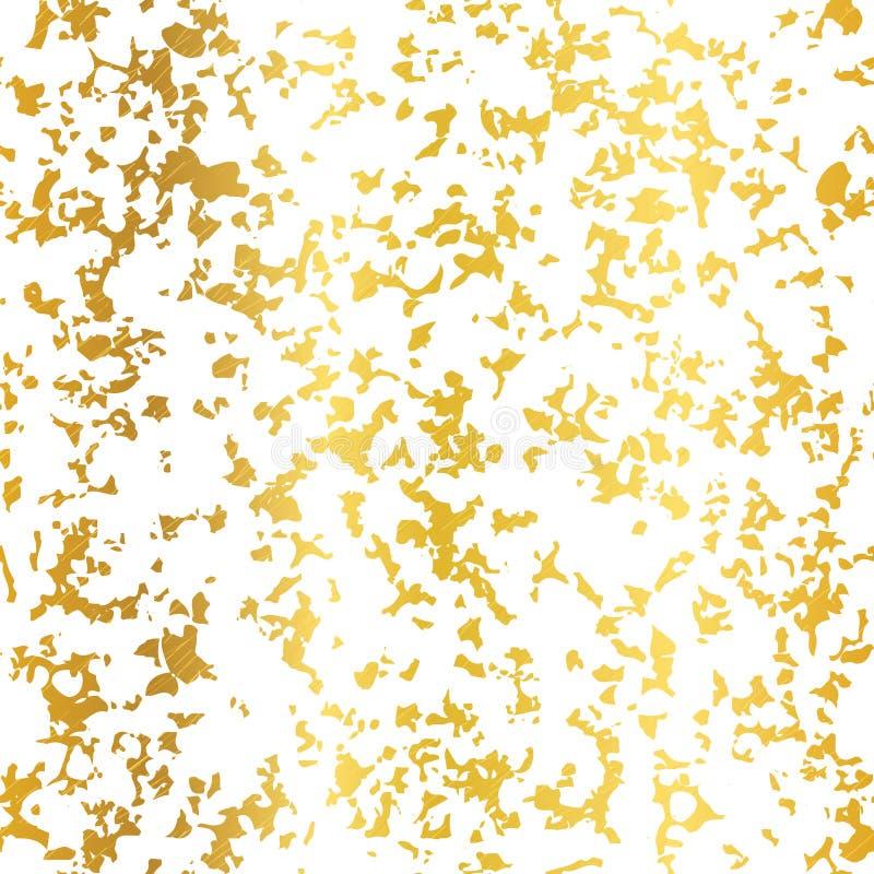 Vettore dorato sul fondo senza cuciture del modello di lerciume del fiocco di struttura astratta bianca della stagnola Grande per royalty illustrazione gratis