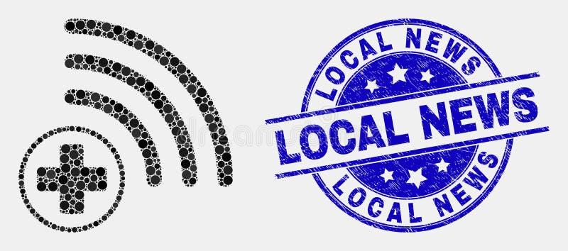 Vettore Dot Medical Source Icon e guarnizione locale di notizie di emergenza illustrazione di stock