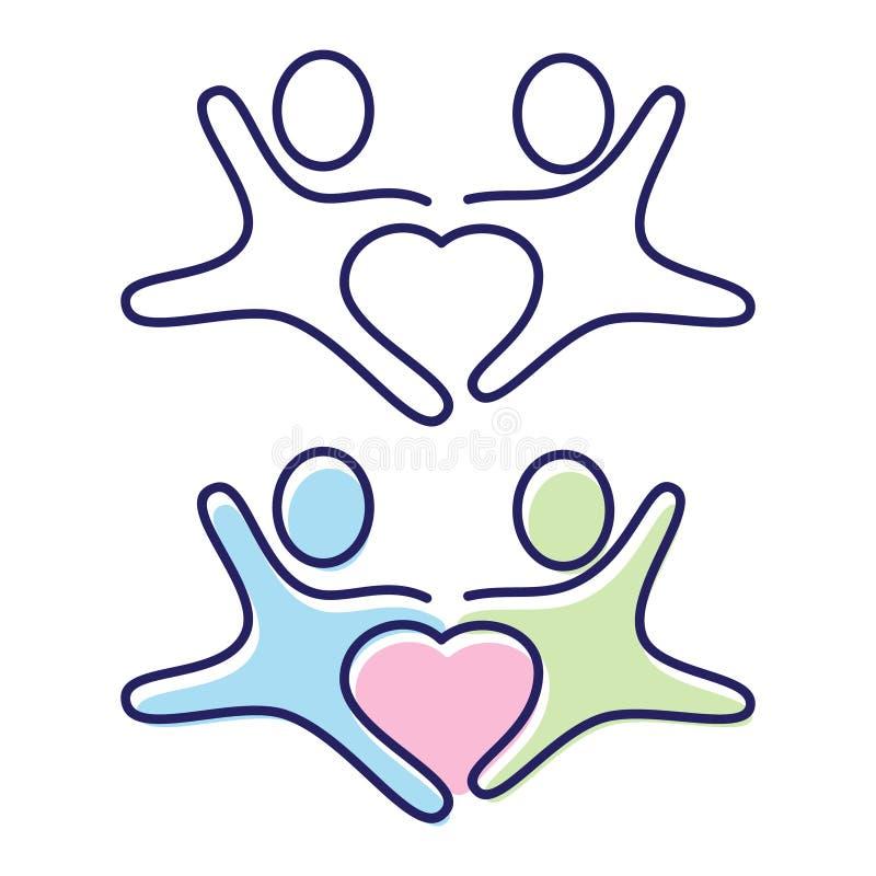 Vettore due persone che si tengono per mano simbolo dell'icona con amore nel mezzo illustrazione vettoriale