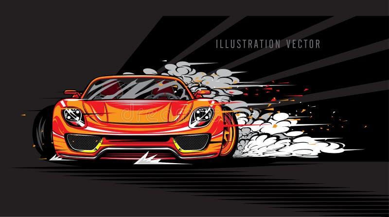 Vettore eccellente dell'illustrazione di velocità dell'automobile sportiva royalty illustrazione gratis