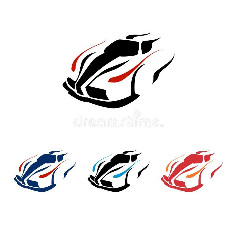 Vettore eccellente moderno Logo Symbol della corsa di automobile veloce illustrazione vettoriale