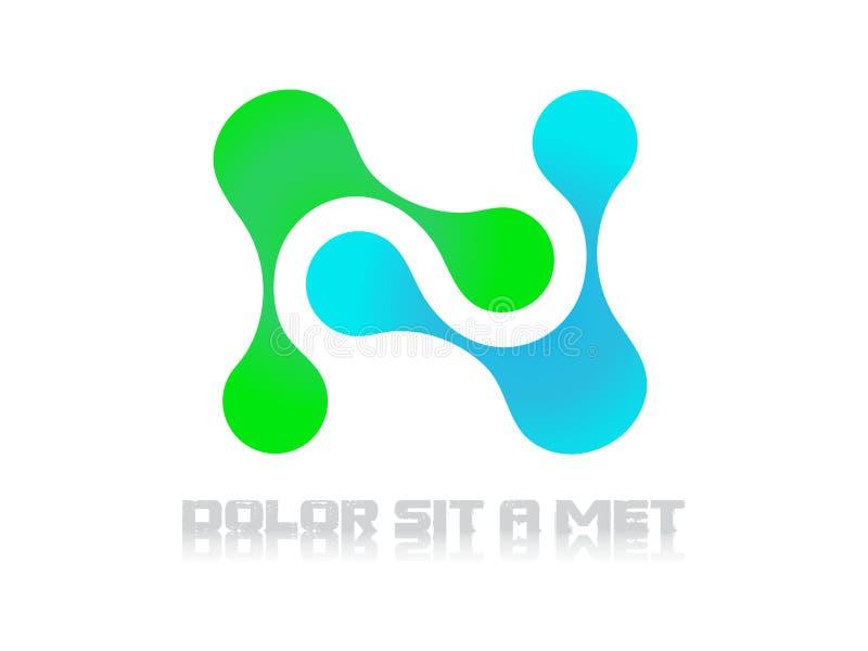 Vettore elettrico dell'estratto di scienza della molecola di tecnologia di logo immagine stock