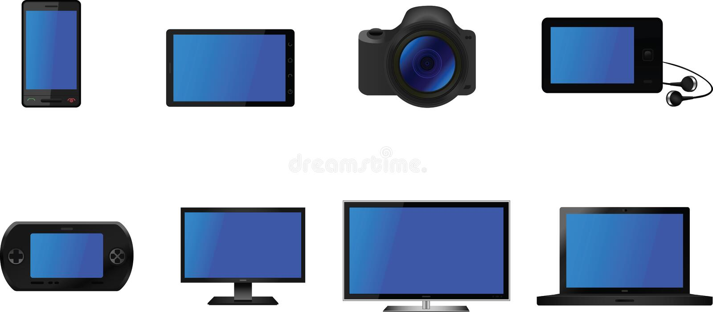 Vettore elettrico delle icone del dispositivo royalty illustrazione gratis