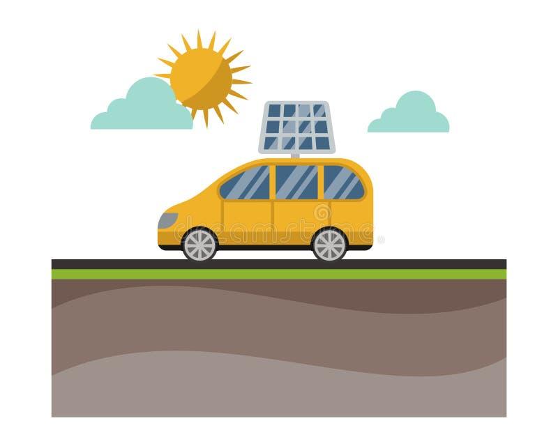Vettore a energia solare di concetto dell'automobile di tecnologia di elettricità di potere royalty illustrazione gratis