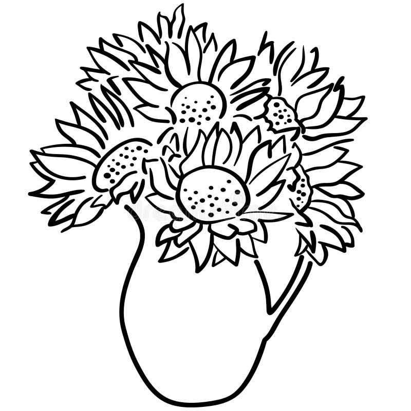 Vettore ENV disegnato a mano, vettore, ENV, logo, icona, illustrazione del girasole della siluetta dai crafteroks per gli usi dif illustrazione di stock