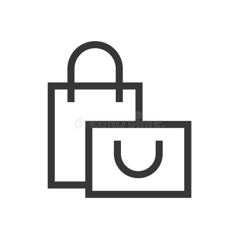 Vettore eps10 del profilo del sacchetto della spesa Icona di acquisto Icona del sacchetto della spesa illustrazione di stock