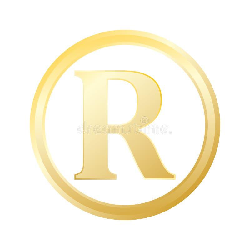 Vettore eps10 dell'icona del marchio depositato di pendenza del metallo dell'oro del marchio depositato illustrazione di stock