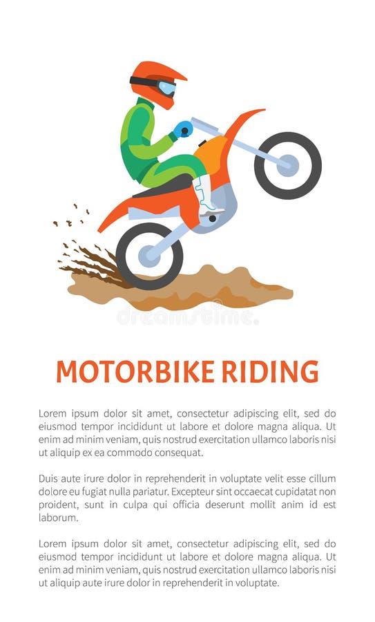 Vettore estremo della cartolina di guida della motocicletta di sport royalty illustrazione gratis