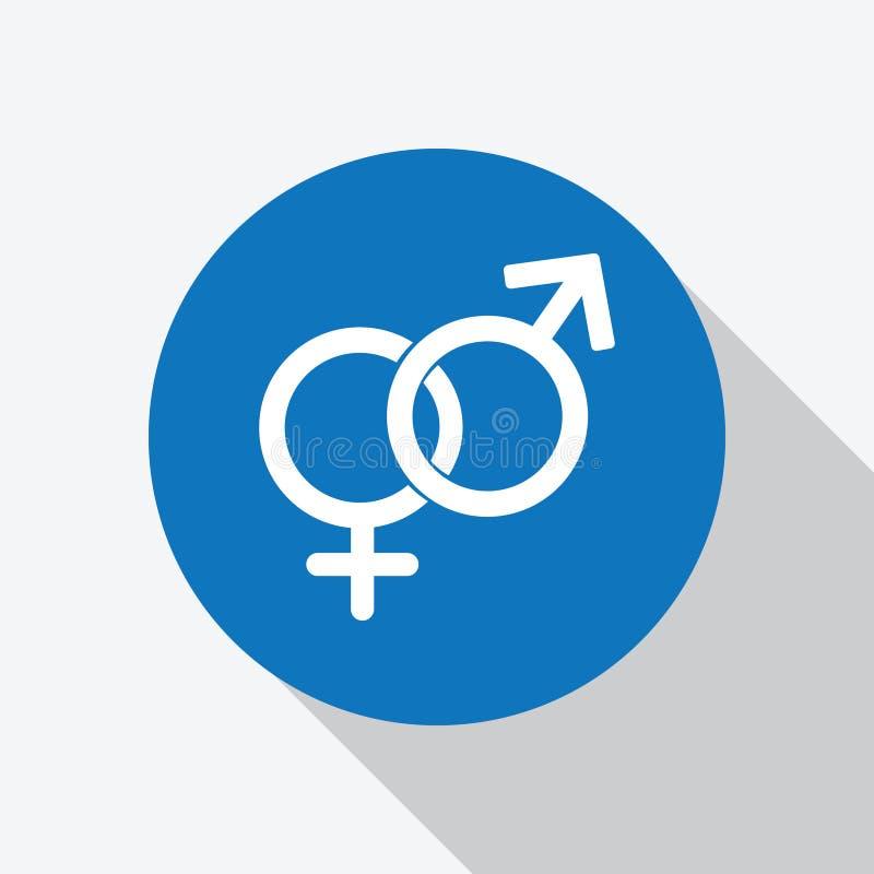 Vettore eterosessuale bianco dell'icona di simbolo di genere illustrazione di stock