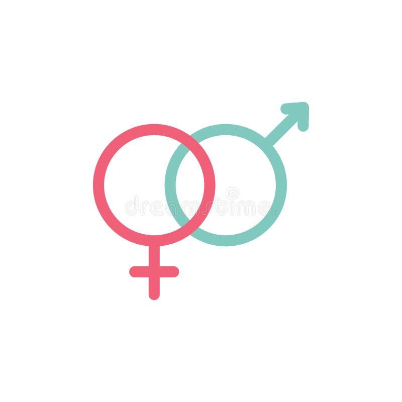 Vettore eterosessuale dell'icona di simbolo di genere, maschio e segno piano femminile illustrazione vettoriale