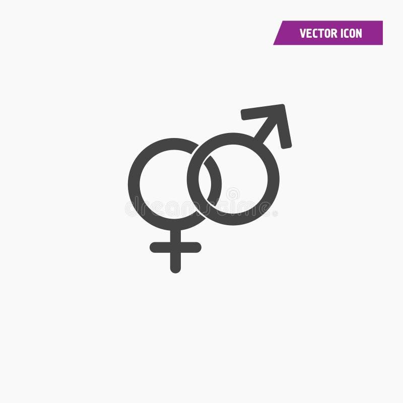 Vettore eterosessuale nero dell'icona di simbolo di genere illustrazione di stock