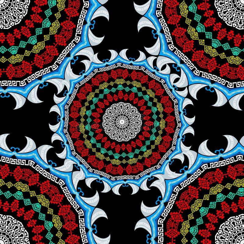 Vettore etnico del Greco di stile intorno al modello senza cuciture Fondo geometrico ornamentale tribale Meandro chiave greco var illustrazione vettoriale