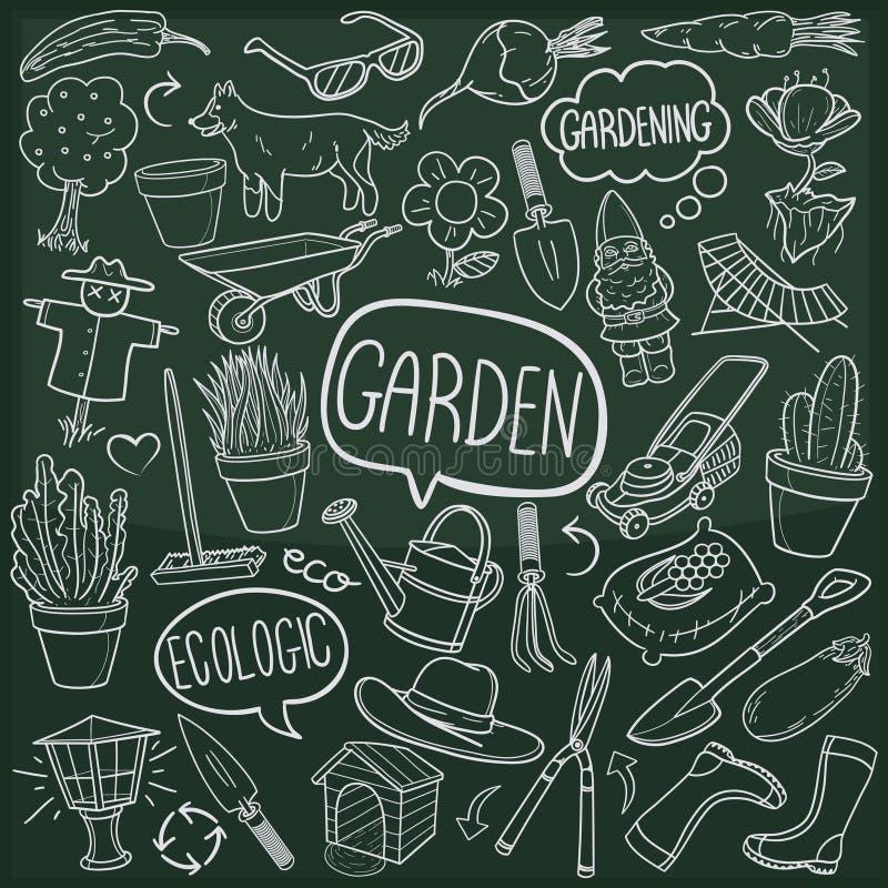Vettore fatto a mano di progettazione di scarabocchio del giardino di schizzo tradizionale all'aperto domestico delle icone illustrazione di stock