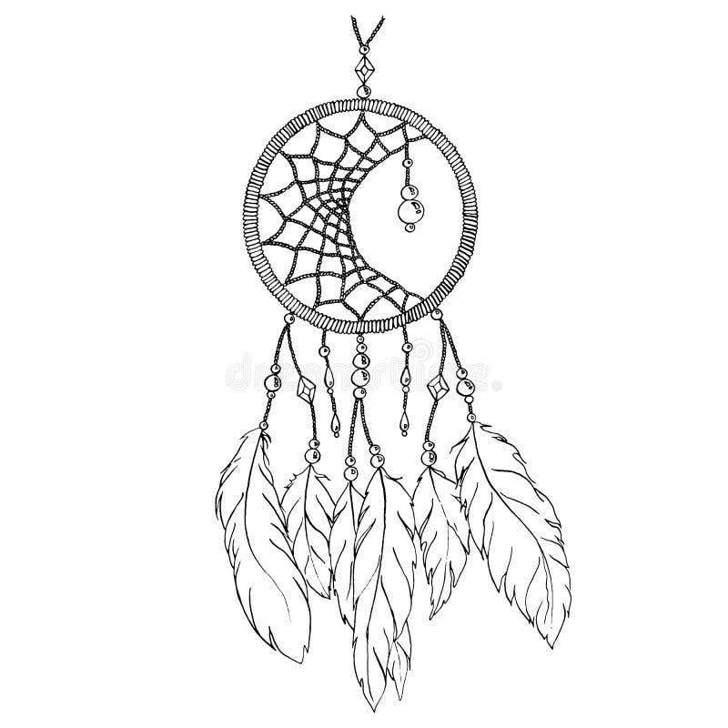 Vettore fatto a mano etnico in bianco e nero monocromatico del collettore di sogno della piuma illustrazione di stock