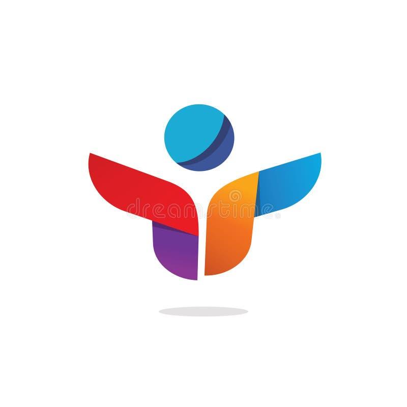 Vettore felice astratto di logo della gente, idea del logotype del lavoro di gruppo, gruppo creativo illustrazione vettoriale