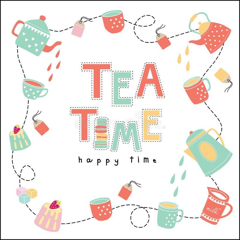 Vettore felice di colore pastello dell'illustrazione di scarabocchio di tempo di tempo del tè royalty illustrazione gratis