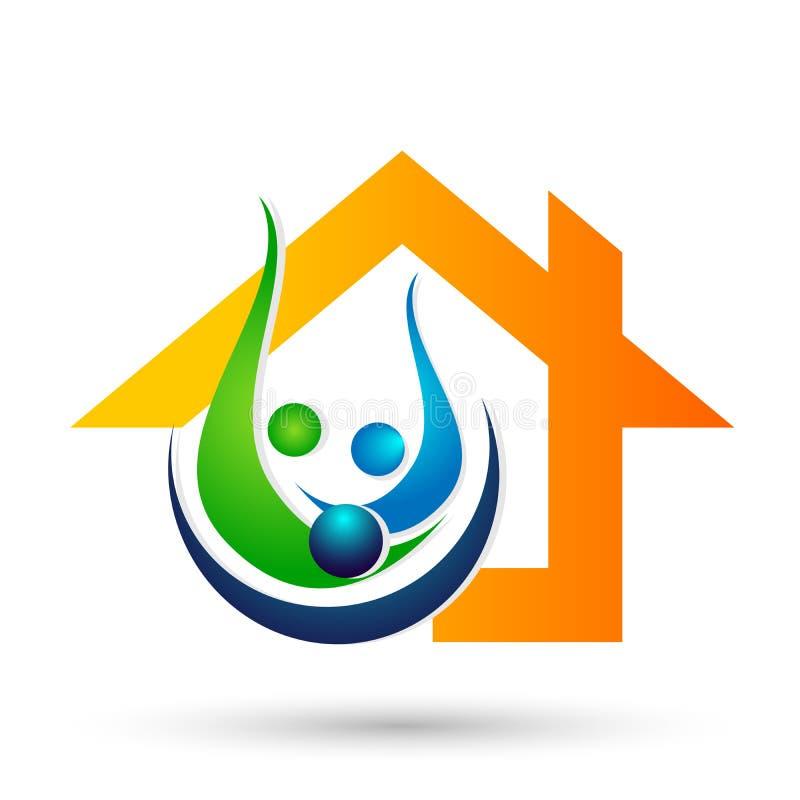 Vettore felice di progettazione dell'icona dell'elemento di vettore di logo della casa di cura di amore della famiglia del bene i royalty illustrazione gratis