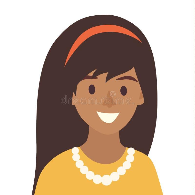 Vettore felice nero dell'icona delle ragazze Illustrazione dell'icona della donna royalty illustrazione gratis