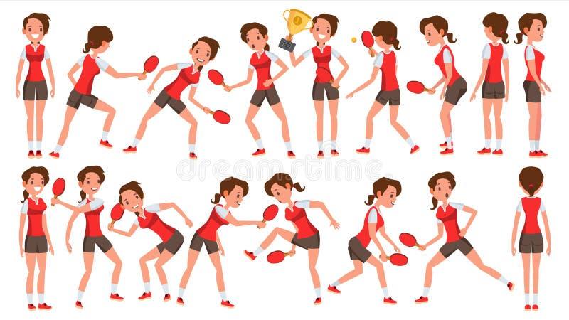 Vettore femminile del giocatore di ping-pong Nell'azione Concetto di sport Giocatore stilizzato Illustrazione del personaggio dei illustrazione di stock