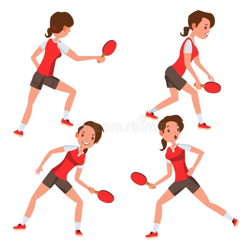 Vettore femminile del giocatore di ping-pong Partita del gioco siluette Giocando nelle pose differenti Donna Atleta Isolated On W illustrazione vettoriale