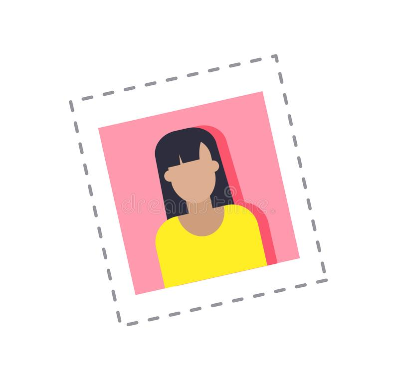 Vettore femminile della donna della fotografia di profilo di blogger royalty illustrazione gratis