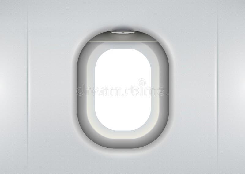 Vettore finestra realistica del velivolo con spazio d'aria bianco all'interno illustrazione vettoriale
