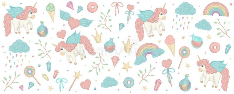 Vettore fissato con i clipart dell'unicorno Insegna orizzontale con l'arcobaleno sveglio, corona, stella, nuvola, cristalli per i illustrazione di stock