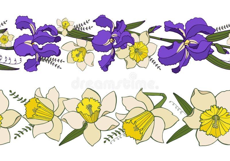 Vettore fissato con i confini floreali senza cuciture della molla illustrazione di stock