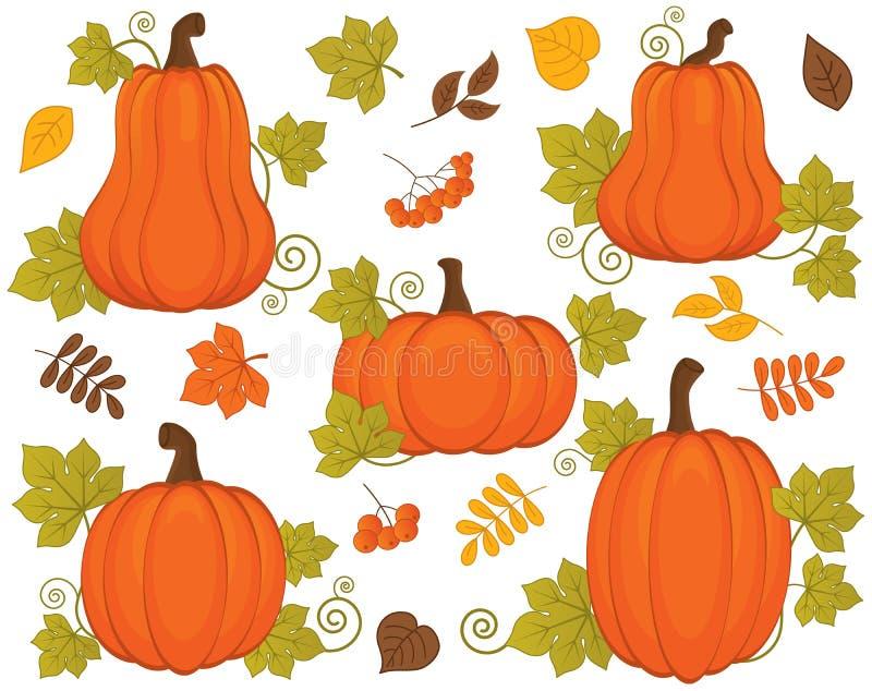 Vettore fissato con le zucche, le bacche e le foglie Vettore Halloween e giorno di ringraziamento Illustrazione di vettore della  royalty illustrazione gratis