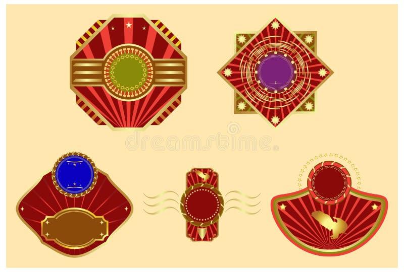 Vettore fissato: contrassegni oro-incorniciati. illustrazione vettoriale